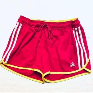 Adidas Athletic Shorts Triple Stripe Pink/Yellow S